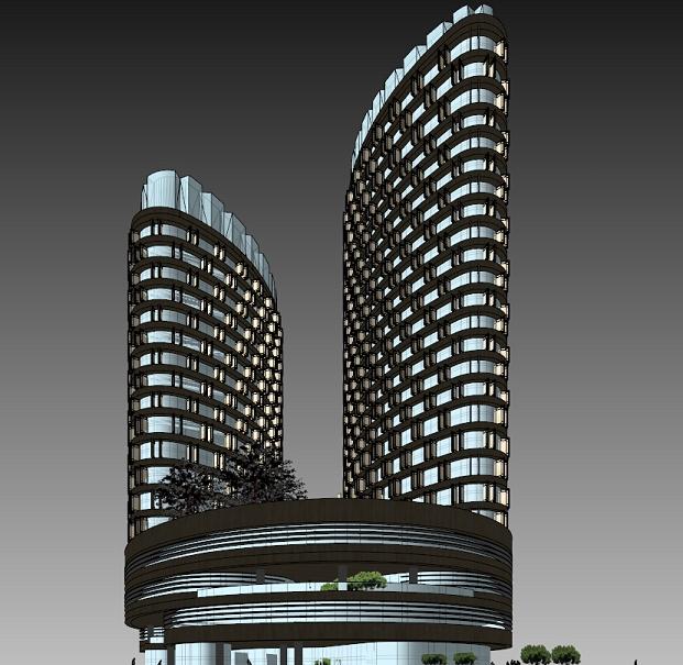 弧形双塔商业综合体sketchup精致设计模型(1)