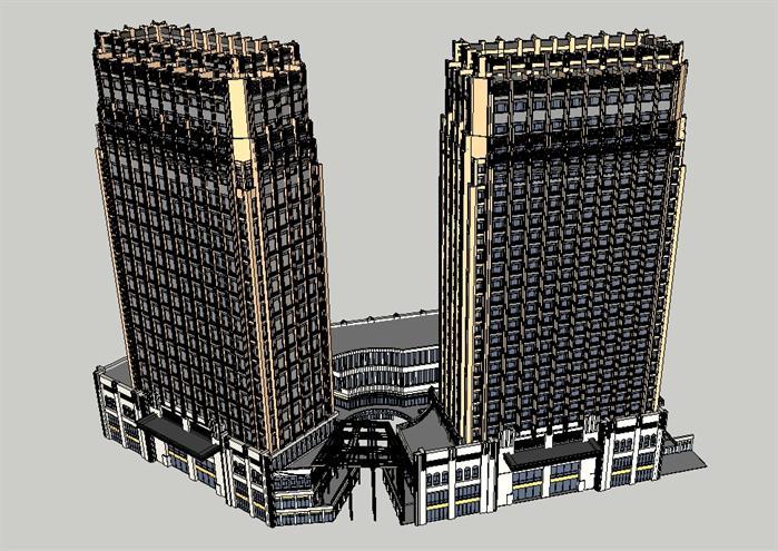新古典商业综合体建筑设计方案鸟瞰图(1)