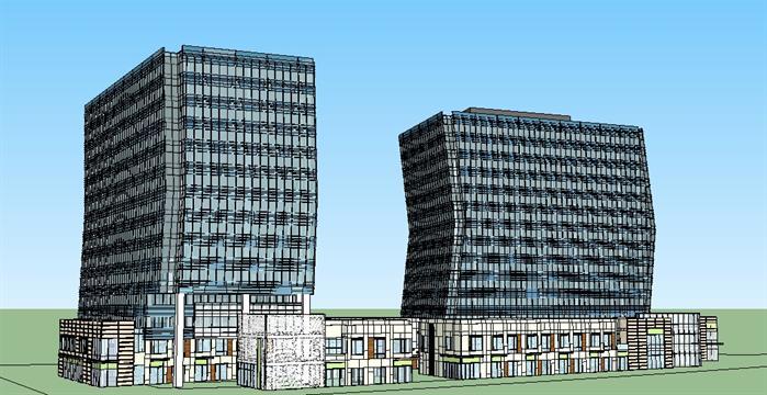 某商业中心综合体建筑设计方案su模型[原创]