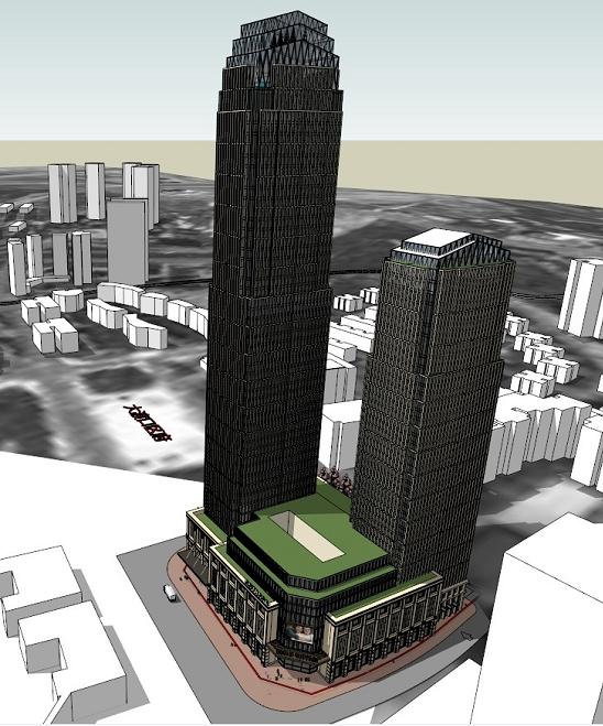 超高层酒店 办公综合体建筑设计方案su模型 带效果图