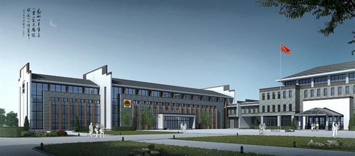 中式建筑风格办公中心建筑设计方案效果图(2)