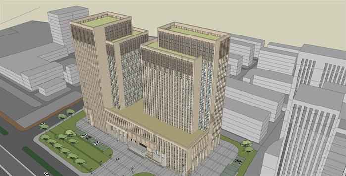 新古典大型商业综合体建筑设计方案鸟瞰图(1)