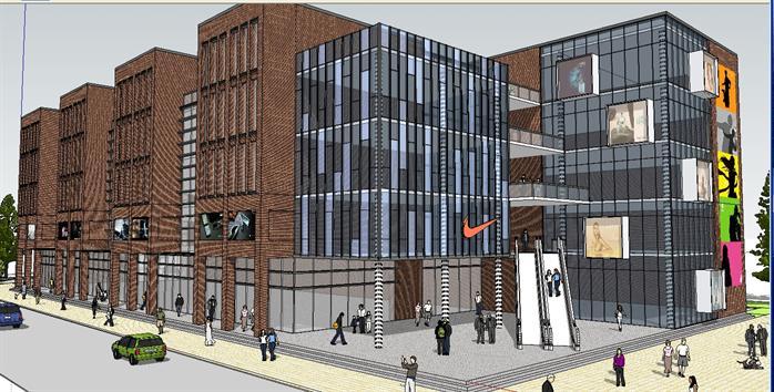 现代住宅商业综合体 沿街商业建筑设计方案效果图 1