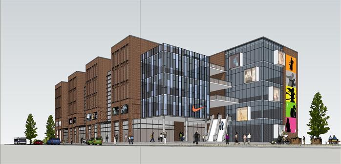 现代住宅商业综合体 沿街商业建筑设计方案su模型