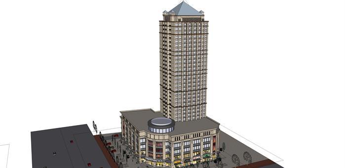 某欧式商业酒店建筑方案设计su模型[原创]