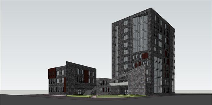 现代灰色办公楼建筑设计方案su模型[原创]