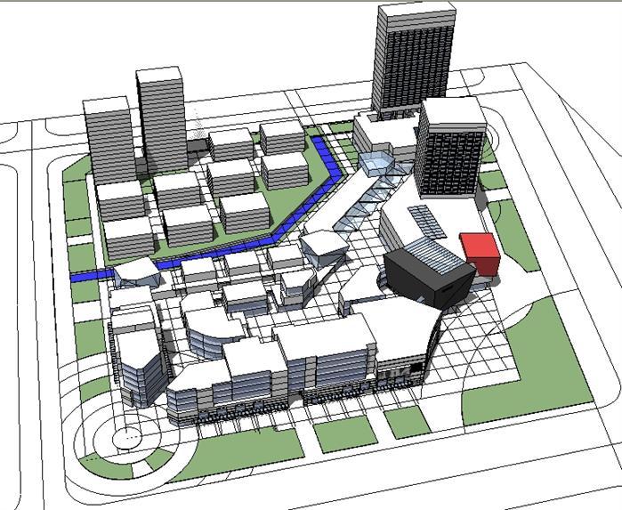 产业园综合体建筑设计方案鸟瞰图(1)