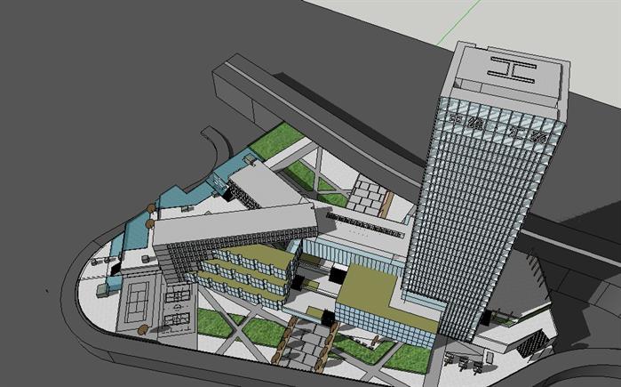 某商务综合体建筑设计方案鸟瞰图(1)