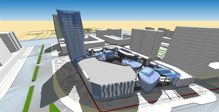 商业步行街,办公综合体建筑设计方案鸟瞰图(1)