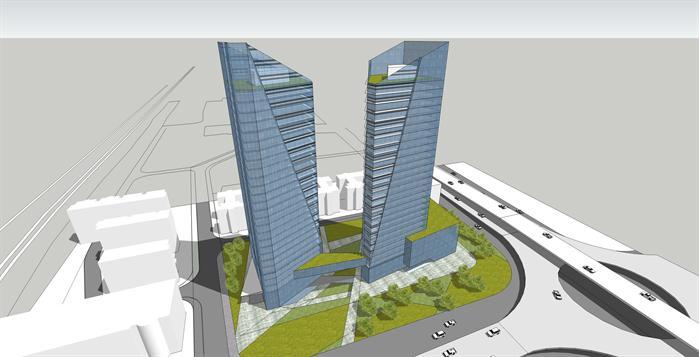 某金融商业综合体建筑设计方案鸟瞰图(1)