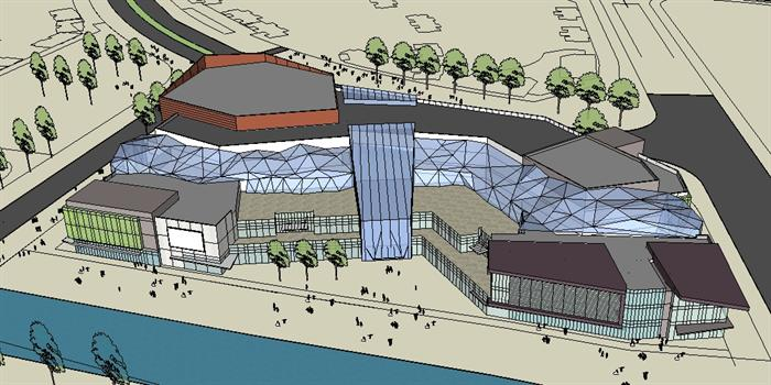 某城央商业中心区建筑方案设计su模型[原创]