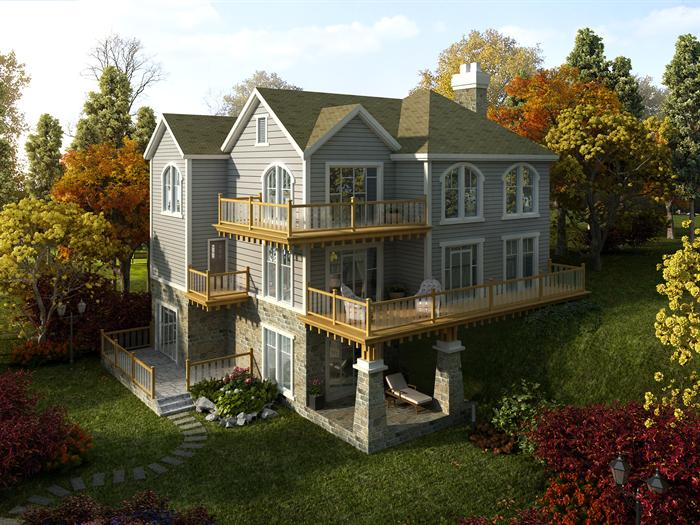 四个美式乡村独栋别墅3dmax模型设计[原创]