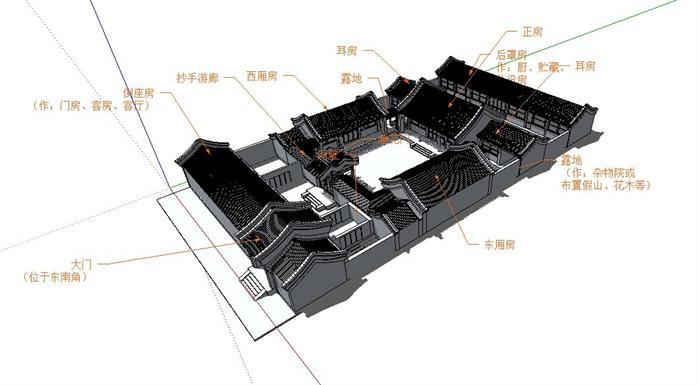 北京四合院(三进院)古建筑设计su模型(1)