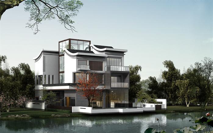 3个现代中式风格别墅3dmax模型(附后期渲染效果图)