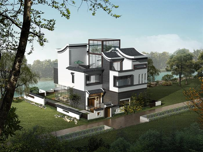 3个新中式 现代简约 超现代别墅3dmax模型(附后期渲染效果图)(6)