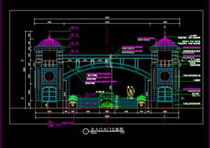 小区欧式入口大门施工详图