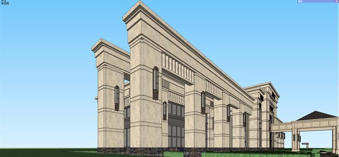某新古典风格售楼处建筑设计方案效果图(2)-某新古典风格售楼处建图片