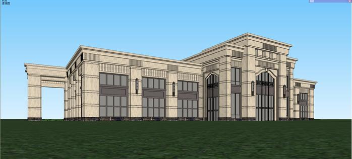 某新古典风格售楼处建筑设计方案效果图(3)-某新古典风格售楼处建图片