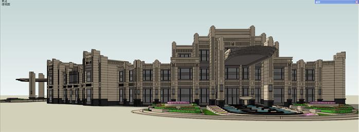 某新古典会所建筑设计方案效果图(3)