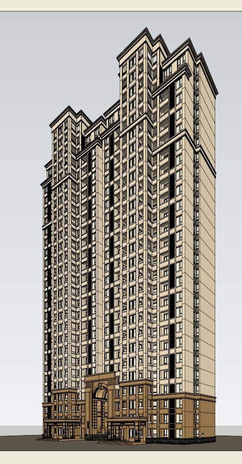 新古典公寓建筑设计方案效果图(3)