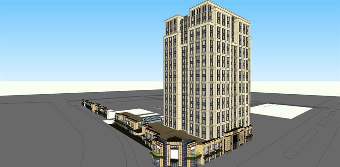 新古典商住公寓建筑设计方案效果图(1)