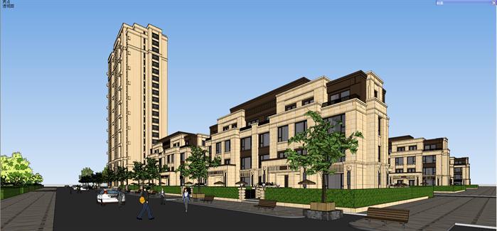 新古典高层别墅建筑设计方案su模型[原创]