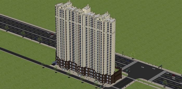 某欧式商住楼建筑方案设计su模型