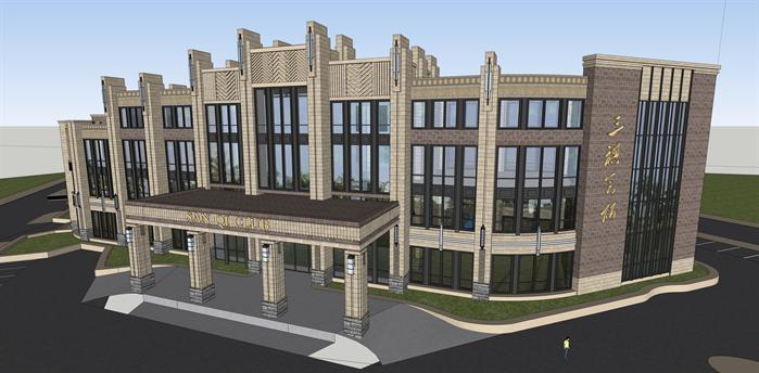 某欧式古典会所建筑方案设计su模型