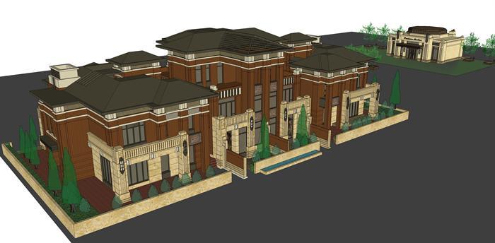 新古典坡屋顶联排别墅建筑设计方案 su模型