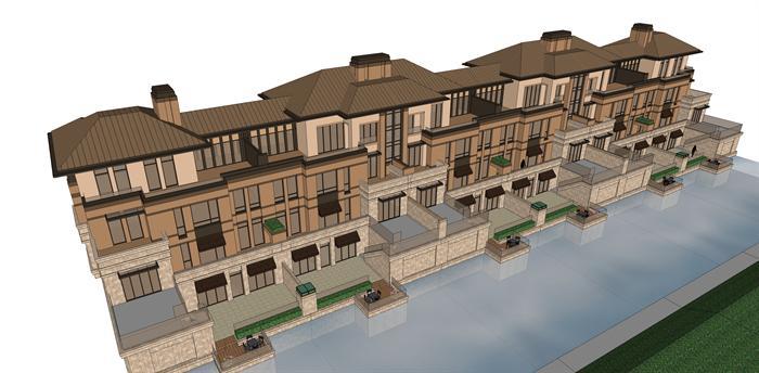 新古典坡屋顶联排别墅建筑设计方案效果图(1)