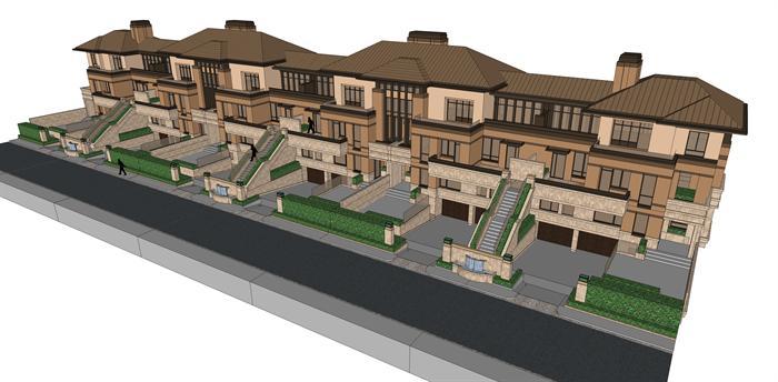 新古典坡屋顶联排别墅建筑设计方案鸟瞰图(2)