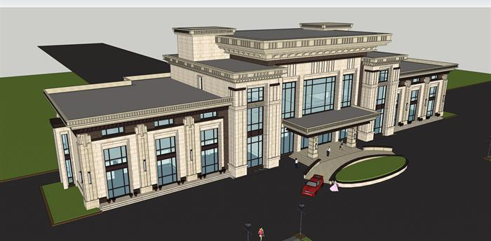 某新古典商务会所建筑方案设计su模型,模型场景比较大,该模型的设计