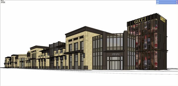 古典小区入口 沿街商业街建筑设计方案su模型
