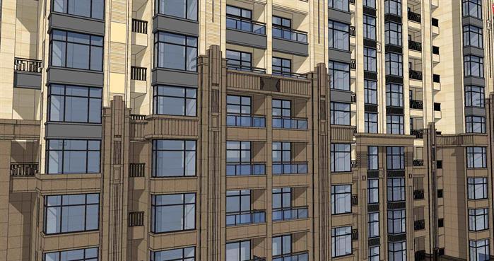 高层住宅单体建筑设计方案su模型 带效果图