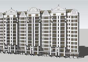 某新古典主义小高层住宅建筑方案设计su(草图大师)模型图片