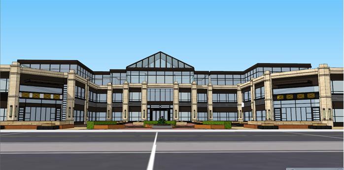 新古典会所、沿街商业建筑设计方案su模型,该模型设计精细,细节处理得当,材质处理较好,风格是新古典风格,周围景观也做了粗略的处理,是很好的会所、商业建筑建筑设计方案参考作品。