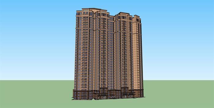 某新古典高层公寓建筑设计方案 效果 图 1