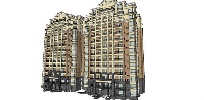 欧式风格住宅建筑设计方案效果图(1)