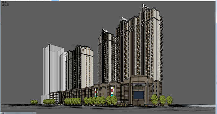 新古典沿街商住高层建筑设计方案su模型[原创]