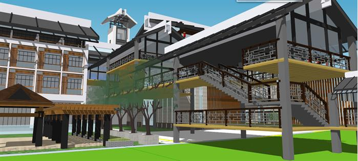 某新中式會所和藝術館建筑設計方案su模型[原創]
