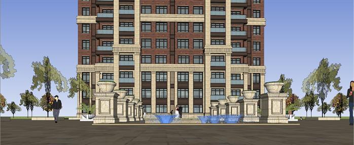 某簡歐風格高層小高層住宅樓建筑方案設計su模型視角6