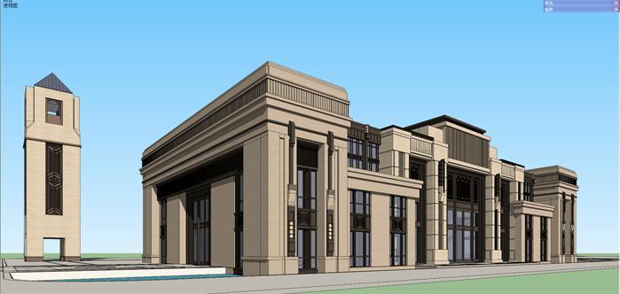 某新古典带钟楼会所建筑设计方案su模型视角3