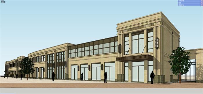 新古典步行商业街建筑设计方案su模型[原创]