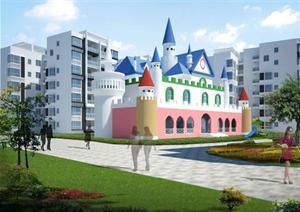 某城堡幼儿园建筑设计方案su(草图大师)模型图片
