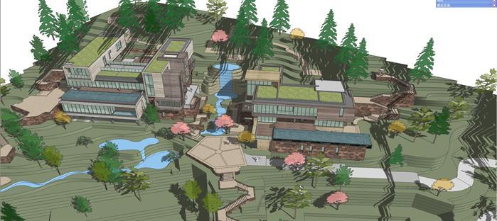 某山地现代风格别墅建筑方案设计su模型(含景观设计)
