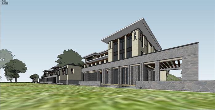 新中式沿湖别墅建筑设计方案局部效果图(2)