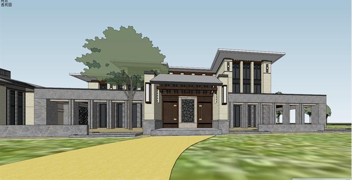 新中式沿湖别墅建筑设计方案局部效果图(3)图片