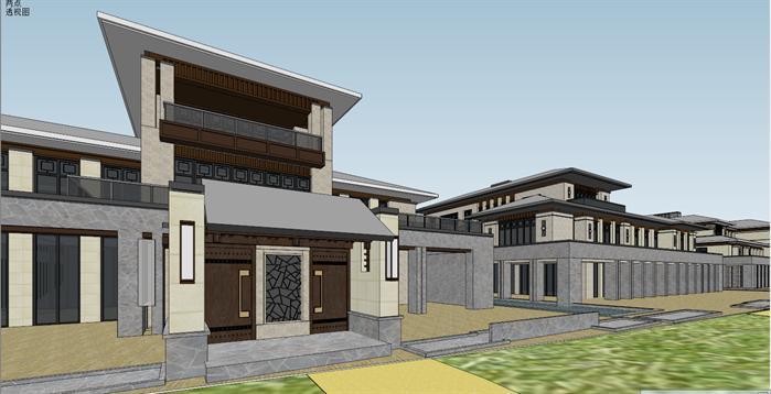 新中式沿湖别墅建筑设计方案局部效果图(4)