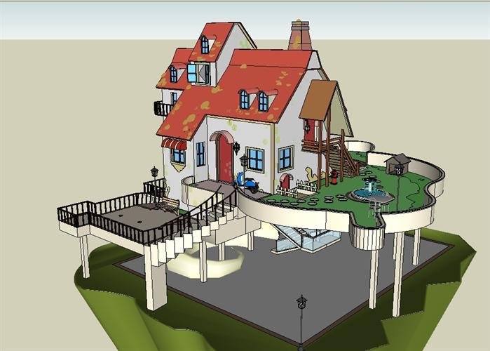某欧式山地别墅建筑方案设计su模型