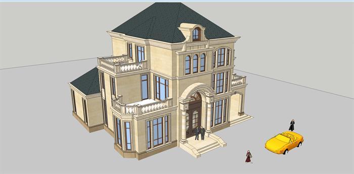 法式小户型别墅建筑设计方案su模型[原创]